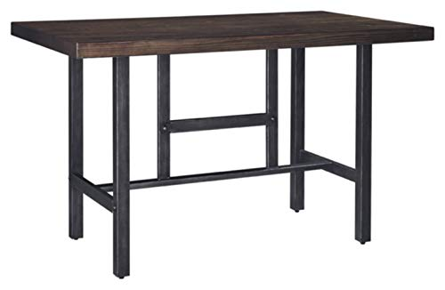 Ashley Furniture Signature Design – Kavara Counter Dining Table – Distressed Finish – Dark Metallic Metal
