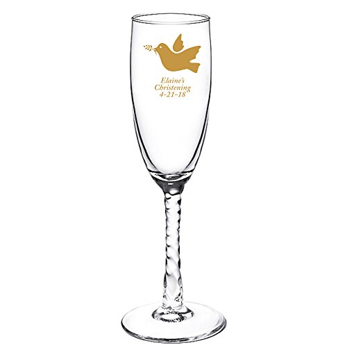 Personalized Color Printed Twisted Stem Champagne Flute - Dove - Gold - 48 pack (Stem Flute Twisted)