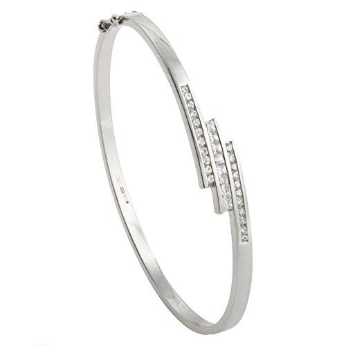 - Argent 925/1000-Oxyde de zirconium-Canal de Triple Croisée style bracelet jonc avec charnière Ouverture