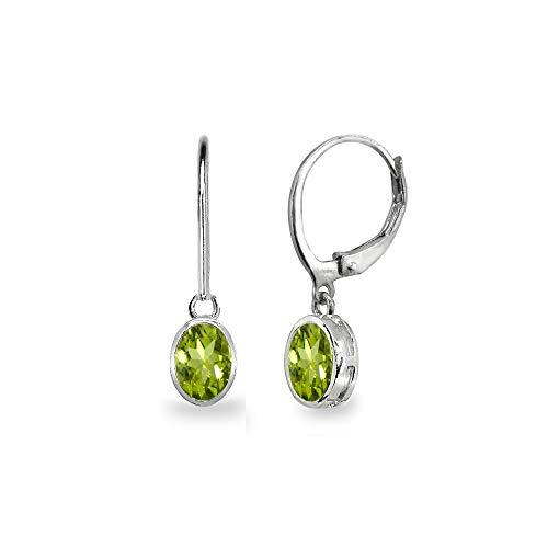 Sterling Silver Peridot 7x5mm Oval Bezel-Set Dainty Dangle Leverback Earrings for Women, Teen Girls