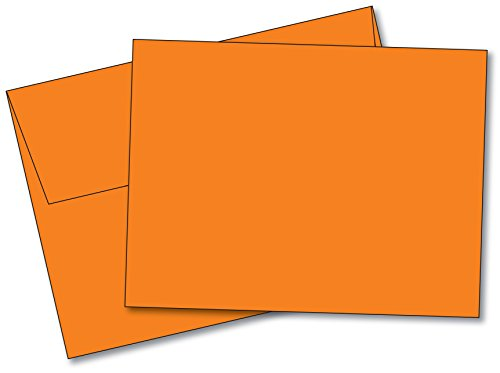 Orange Fold Over Note (Blank Color Note Cards Uncoated, 5 x 7 Inches Cards - 40 Cards and Envelopes - (These Are NOT Fold Over Cards) (Orange))