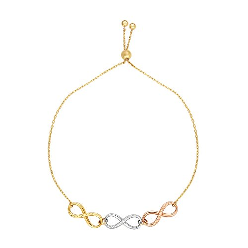 (MCS Jewelry 14 Karat Tri-Color Gold Infinity Element Bracelet (Adjustable Length: 9 1/4