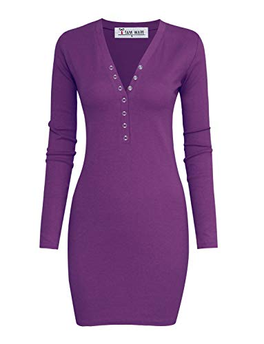 (TAM WARE Women Casual Slim Fit V Neck Snap Button Bodycon Mini Dress TWCWD070-PURPLE-US M)