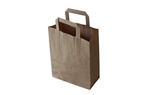 50 Papiertragetaschen Papiertaschen Tüten Papiertüten Tragetaschen braun 22 + 11 x 36 cm
