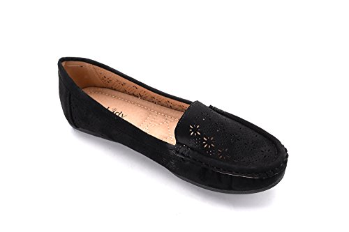 Slip Loafer 2 Flats Moccasins Shoes Driving Suede Walking On Casual amp; Mlia Womens Lady black qw7xn4nt1