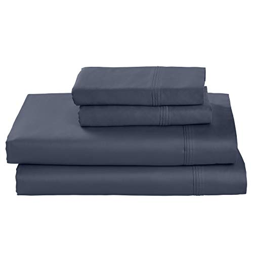 Stone & Beam HygroCotton Sateen Sheet Set,  Easy Care, King, Regatta (Renewed)