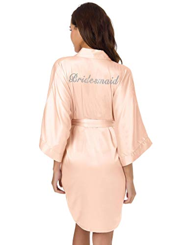 SIORO Robe for Bridesmaids Womens Silk Satin Robes Personalized Bridal Shower Bathrobes Short Kimono Sleepwear,Shell Pink L