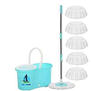 ALLWIN® Mop with 6 Refills Super Absorbent Refills for All Home & Office Floor Cleaning,360 Degree Spin Bucket, 180…