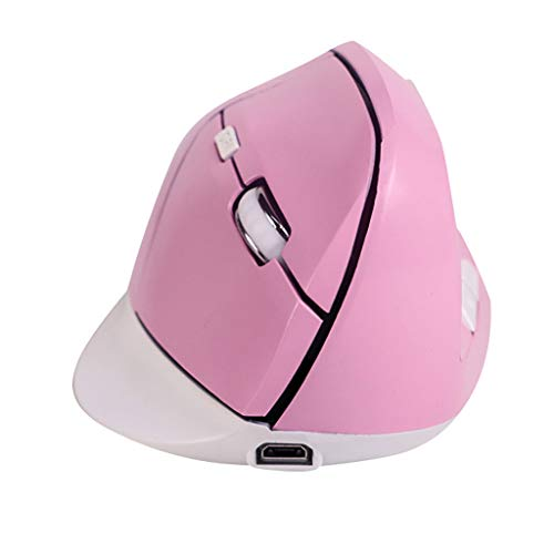Guidance Ergonomic Vertical Mouse, 2.4G Optical Wireless Mouse with 6 Buttons 3 Adjustable DPI 1200/1400/1600 for Laptop PC Desktop MacBook (Pink) ()