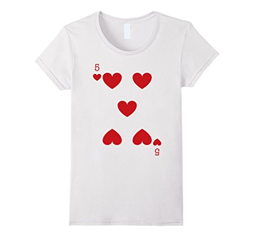 Womens Five Heart Playing Card Genius Last minute Halloween Costume Small (Last Minute Halloween Costumes Adults)