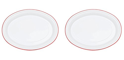 Crow Canyon - Set of 2 Enamelware 18 Inch Serving Platters/Plates (White with Red Rim) by Crow Canyon Home