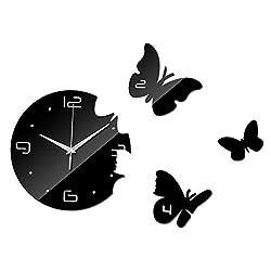 ptk12 Wall Clocks - New Quartz DIY 3D Acrylic Clocks Home Decoration Living Room Cartoon Crystal Mirror Wall Clock Sticker Decor frees hipping 1 PCs