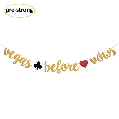 Vegas Before Vows Gold Glitter Banner Sign