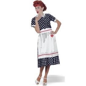 I Love Lucy Dress Costumes (Lucy Poka Dot Dress Adult Costume - Medium)