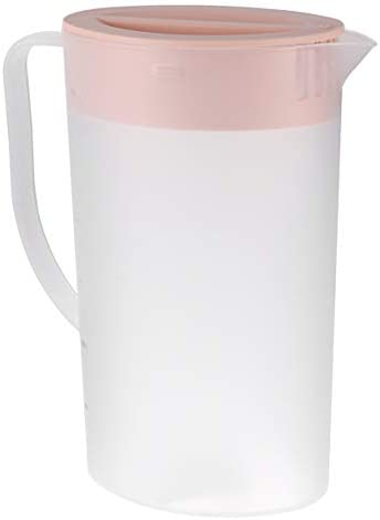 Cabilock Großer Plastikkrug mit Deckel Hitzebeständig Heißer Kaltwasserkaraffe Wasserkrug für Saft Getränkeglas Eistee Wasserkocher Rosa 1. 6L