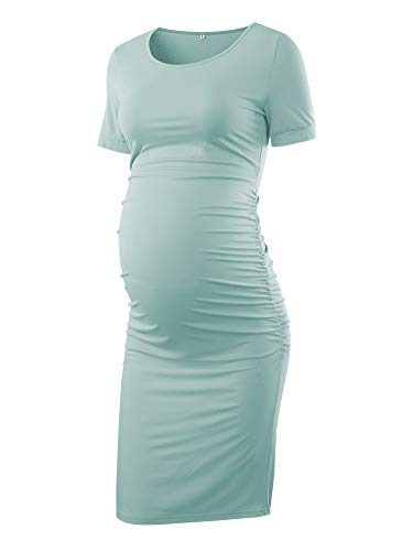 Liu & Qu Women's Maternity Bodycon Ruched Side Dress Casual Short Sleeve Dress For Daily Wearing Or Baby Shower