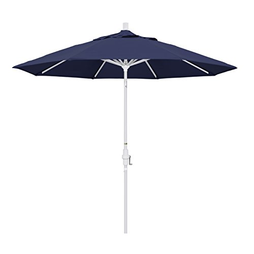 California Umbrella 9' Round Aluminum Market Umbrella, Crank Lift, Collar Tilt, White Pole, Navy Blue Olefin