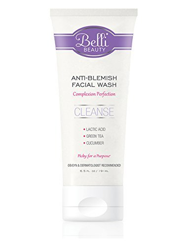 Belli Anti-Blemish Acne Facial Wash (6.5 Oz) - Pregnancy Safe Acne Face Cleanser - Clear Blemishes and Prevent Breakouts - Lactic Acid, Green Tea, Cucumber - Non-Irritating Formula