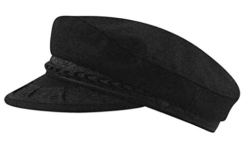 Aegean Women's Wool Greek Fisherman's Cap, Black, 7 3/8