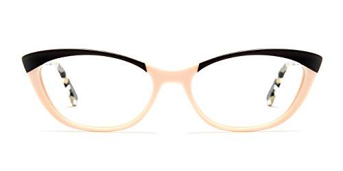TIJN Women Cateye Acetate Full-rim Delicate Eyeglasses with Clear - Cat Spot Eye Brown On