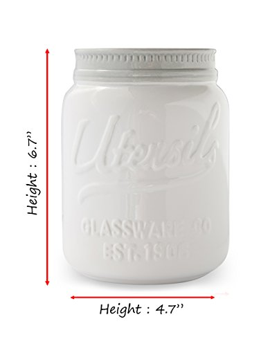 Wide Mouth Mason Jar Utensil Holder by Comfify - Decorative Kitchenware Organizer Crock, Chip Resistant Ceramic - Perfect Cookware Gift - White, Large Size by Comfify (Image #6)