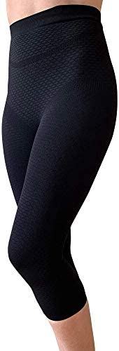 BIOFLECT® Compression Capri Leggings with Far Infrared Therapy and Micro-Massage Knit - Slimming Support and Comfort - Lipedema, Lymphedema, Inflammation - Black 4XL 1