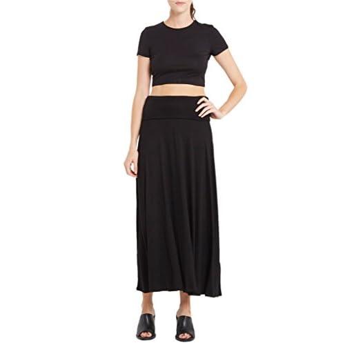 6da34c90934f Poshsquare Women s Fold Over High Waist Comfy Stretch Maxi Skirt USA outlet