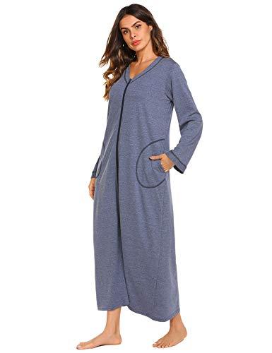 Ekouaer Night Shirt Womens Nightgown Robe Long Sleeve Nightshirt Full Length V...