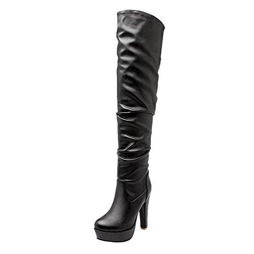 Mee Shoes Womens Stivali Neri Western High Heel Fashion qrqx1wAd