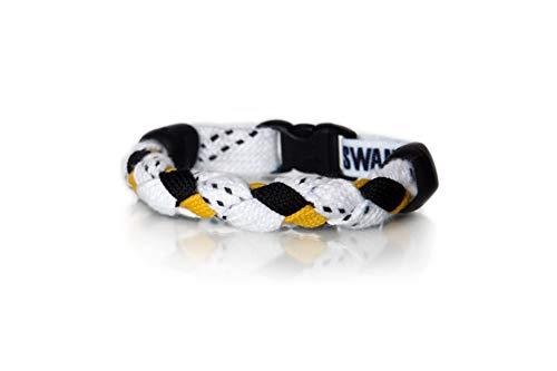 "Swannys Hockey Bracelet White, Black and Gold - 8"" Bracelet"