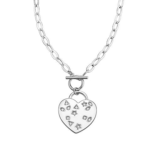 MILATU Heart Charm Necklace 3A Cubic Zirconia,Platinum-Plated Cable Link Chain,Jewelry Gift for Women Girls ()
