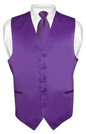 Men's Dress Vest & NeckTie Solid PURPLE INDIGO Color Neck Tie Set sz 2XL