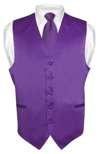 Mens Dress Vest & NeckTie Solid PURPLE INDIGO Color Neck Tie Set for Suit Tux