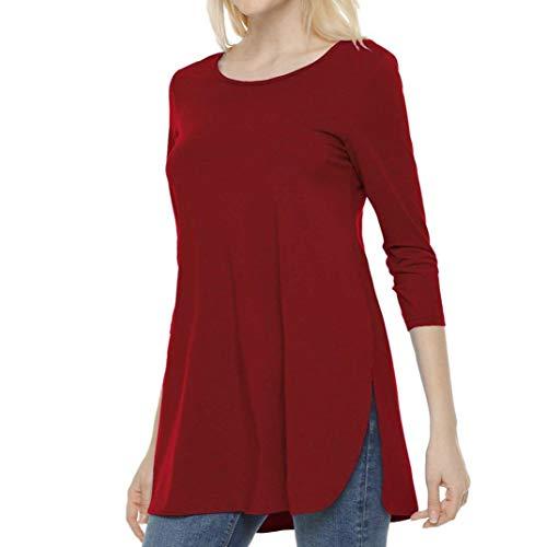 Rouge Confort Fourche Loose Solid LULIKA en T Populaire Shirt De Dames Longues Mode Manches Couleur Side WAIZn