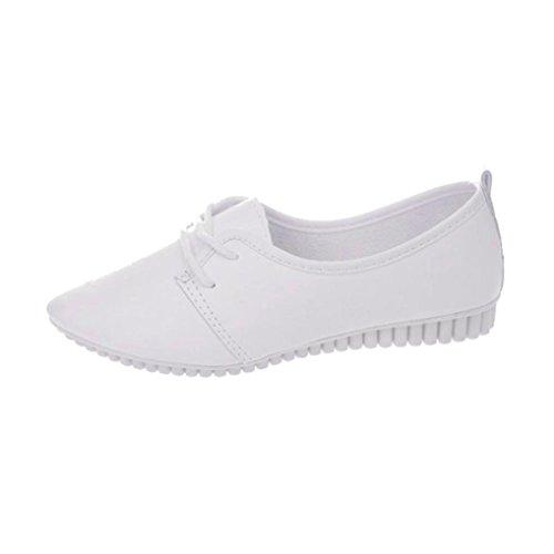 Transer® Damen Flach Mokassins Frühling/Herbst Casual Schuh PU-Leder+Gummi Sandelholz Slipper(Bitte eine Nummer größer bestellen. Vielen Dank!) Weiß