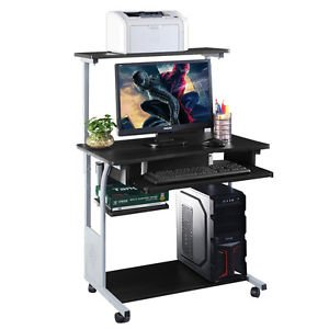 6ce11098192b Image Unavailable. Image not available for. Color: Computer Desk w/ Printer  Shelf Stand Rolling Laptop Home Office ...