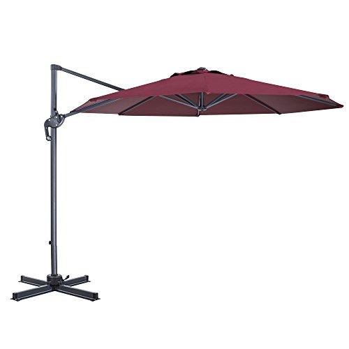 Cheap Cloud Mounatin 10 Ft Patio Umbrella Offset Outdoor Umbrella, 8 Ribs 100% Polyester Cross Base Cantilever Hanging Umbrella, 360 Degree Rotation (Burgundy)