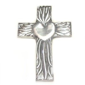 Hand Made Pewter Talavera Cross Mexico 5×7 Heart  Flames Design Wall Decor