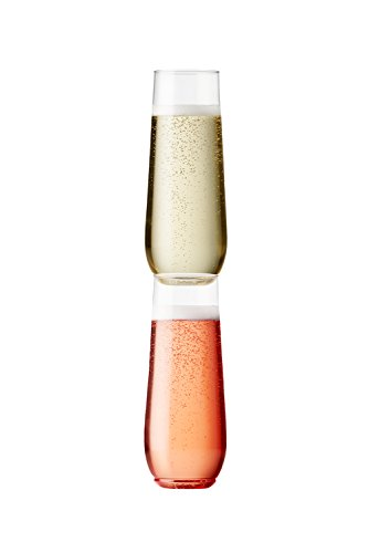 TOSSWARE 9oz Flute - recyclable champagne plastic cup - SET OF 12 - stemless, shatterproof and BPA-free flute glasses by TOSSWARE (Image #3)
