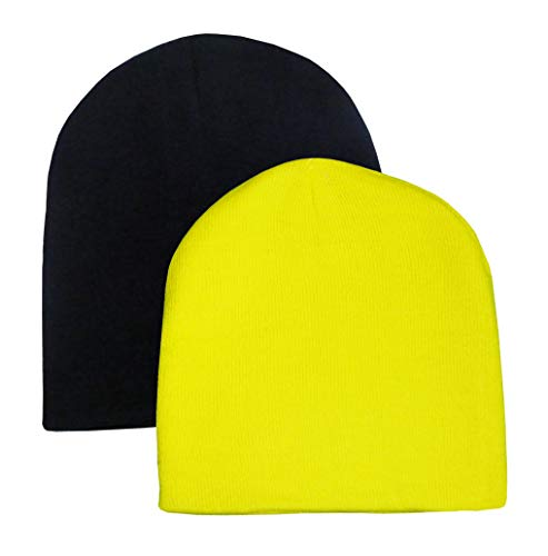 N'Ice Caps Kids Unisex Double Layered Knit Beanie Cap - 2 Hat Pack (Black/Neon Yellow Glows, One Size)