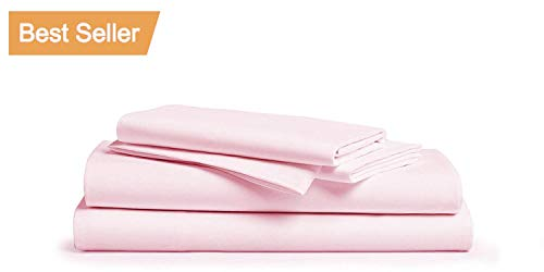 LINENWALAS 100% Cotton Bed Sheets – 1000 Thread Count Deep Pocket 4 Piece Sheets|Silk Like Soft, Hypoallergenic, Breathable & Cooling Sateen |Hotel Luxury Bedsheets Clearance Deal (Queen, Baby Pink)