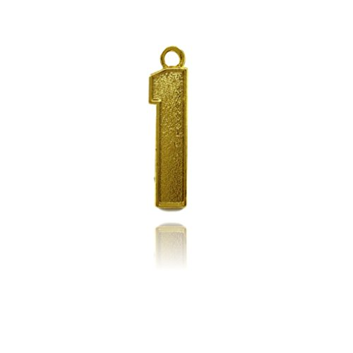 Number 1 Jersey Style Sports Necklace Charm Pendant (0.8'' Tall - Standard Size) GOLD PLATED Perfect For: Football, Baseball, Basketball, Soccer, Hockey, Softball, Volleyball, Lacrosse & More by CustomNumberCharms