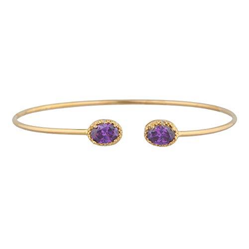 14Kt Gold CZ Amethyst & Diamond Oval Bangle Bracelet