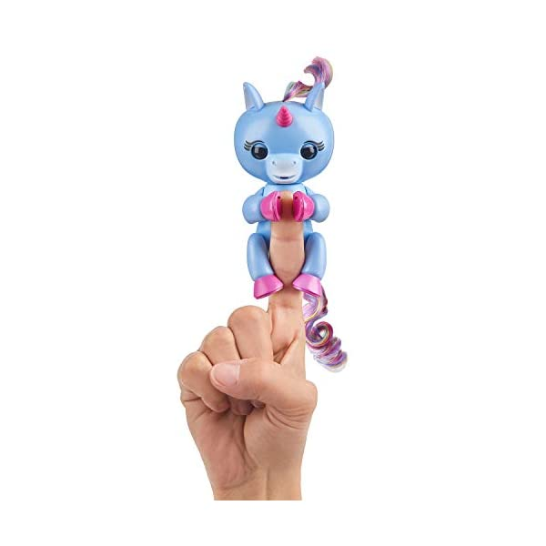 Fingerlings Baby Unicorn - Stella (Periwinkle Blue with Rainbow Mane & Tail) - Friendly Interactive Toy by WowWee, One Size 4