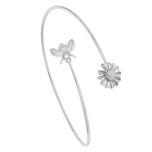 MANZHEN Adjustable Tiny Bumble Bee Queen Bee Cuff Wire Wrapped Bangle Bracelet Insect Jewelry (Silver-2) ()