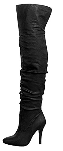 Forever Link Focus-33 Women's Fashion Stylish Pull On Over Knee High Sexy Boots,9 B(M) US,Black Pu (Heels Heel High High Knee)