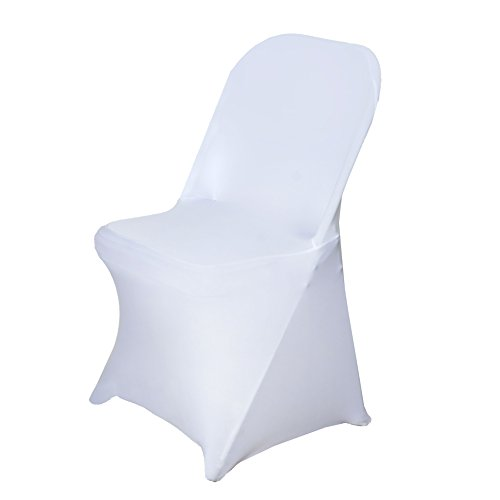 BalsaCircle 10 pcs White Spandex Stretchable Folding Chair Covers for Party Wedding Linens Decorations Dinning Ceremony Reception -