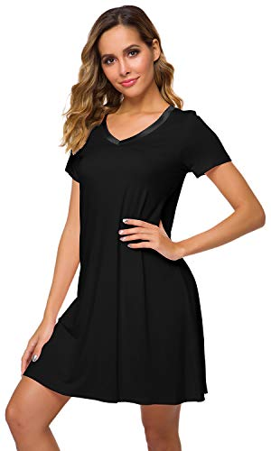 WiWi Women's V Neck Bamboo Nightgown Soft Short Sleeve, Black, Medium