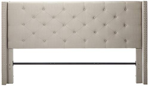 Life Home Premiere Classics Cloth Light Grey Silver Linen 51 Tall Headboard Platform Bed with Slats King - Complete Bed 5 Year Warranty Included