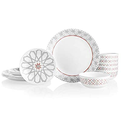 Corelle 18-Piece Service for 6, Chip Resistant Dinnerware Set, Amalfi Rosa - The 18 piece set includes six 10-1/4 inch dinner plates, six 6-3/4 inch appetizer/snack plates and six 16-ounce soup/cereal bowls The perfect finishing touch to the 18 piece set - add the matching 8-1/2 inch salad plates to your collection or dare to be different by adding the Amalfi Verde salad plates for an effortless mix and match effect Nothing-else-like-it, triple-layer-strong glass plates and bowls-say goodbye to chips & cracks - kitchen-tabletop, kitchen-dining-room, dinnerware-sets - 31hHJkfrlcL. SS400  -